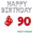 Feest-vieren 90 jaar Verjaardag Versiering Ballon Pakket rood & zilver
