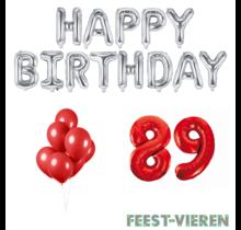 89 jaar Verjaardag Versiering Ballon Pakket rood & zilver