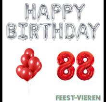88 jaar Verjaardag Versiering Ballon Pakket rood & zilver