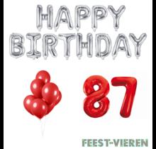 87 jaar Verjaardag Versiering Ballon Pakket rood & zilver