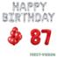 Feest-vieren 87 jaar Verjaardag Versiering Ballon Pakket rood & zilver
