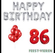 86 jaar Verjaardag Versiering Ballon Pakket rood & zilver