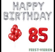 85 jaar Verjaardag Versiering Ballon Pakket rood & zilver