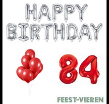 84 jaar Verjaardag Versiering Ballon Pakket rood & zilver