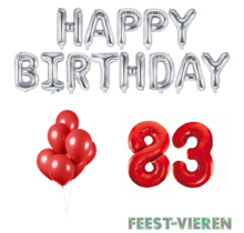 83 jaar Verjaardag Versiering Ballon Pakket rood & zilver