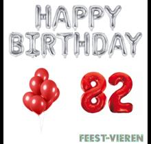 82 jaar Verjaardag Versiering Ballon Pakket rood & zilver