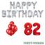 Feest-vieren 82 jaar Verjaardag Versiering Ballon Pakket rood & zilver