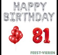 81 jaar Verjaardag Versiering Ballon Pakket rood & zilver