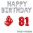 Feest-vieren 81 jaar Verjaardag Versiering Ballon Pakket rood & zilver