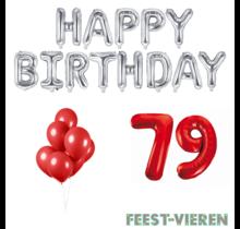 79 jaar Verjaardag Versiering Ballon Pakket rood & zilver