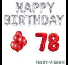 78 jaar Verjaardag Versiering Ballon Pakket rood & zilver