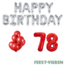 Feest-vieren 78 jaar Verjaardag Versiering Ballon Pakket rood & zilver