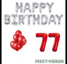 77 jaar Verjaardag Versiering Ballon Pakket rood & zilver