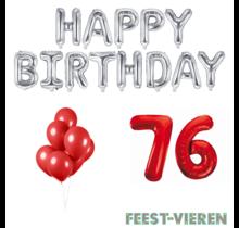 76 jaar Verjaardag Versiering Ballon Pakket rood & zilver