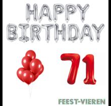 71 jaar Verjaardag Versiering Ballon Pakket rood & zilver