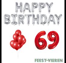 69 jaar Verjaardag Versiering Ballon Pakket rood & zilver