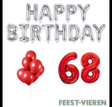 68 jaar Verjaardag Versiering Ballon Pakket rood & zilver
