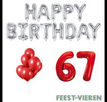 67 jaar Verjaardag Versiering Ballon Pakket rood & zilver