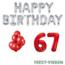 Feest-vieren 67 jaar Verjaardag Versiering Ballon Pakket rood & zilver