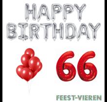 66 jaar Verjaardag Versiering Ballon Pakket rood & zilver