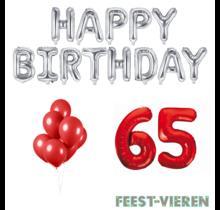65 jaar Verjaardag Versiering Ballon Pakket rood & zilver