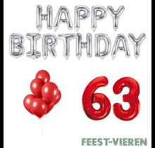 63 jaar Verjaardag Versiering Ballon Pakket rood & zilver