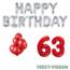 Feest-vieren 63 jaar Verjaardag Versiering Ballon Pakket rood & zilver