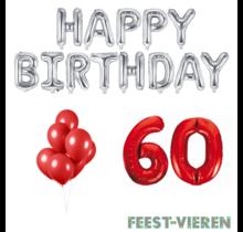 60 jaar Verjaardag Versiering Ballon Pakket rood & zilver