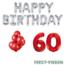 Feest-vieren 60 jaar Verjaardag Versiering Ballon Pakket rood & zilver
