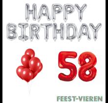 58 jaar Verjaardag Versiering Ballon Pakket rood & zilver