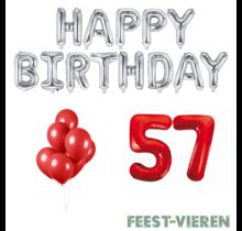 57 jaar Verjaardag Versiering Ballon Pakket rood & zilver