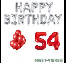 54 jaar Verjaardag Versiering Ballon Pakket rood & zilver