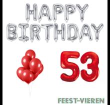 53 jaar Verjaardag Versiering Ballon Pakket rood & zilver