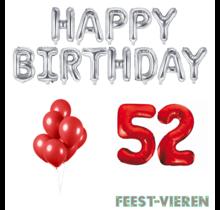 52 jaar Verjaardag Versiering Ballon Pakket rood & zilver