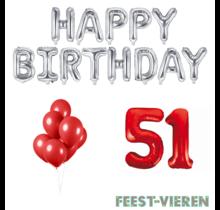 51 jaar Verjaardag Versiering Ballon Pakket rood & zilver