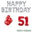 Feest-vieren 51 jaar Verjaardag Versiering Ballon Pakket rood & zilver