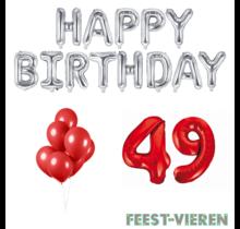 49 jaar Verjaardag Versiering Ballon Pakket rood & zilver