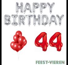 44 jaar Verjaardag Versiering Ballon Pakket rood & zilver