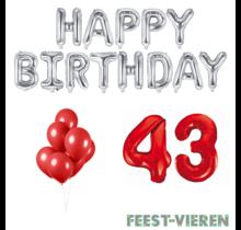 43 jaar Verjaardag Versiering Ballon Pakket rood & zilver