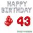 Feest-vieren 43 jaar Verjaardag Versiering Ballon Pakket rood & zilver