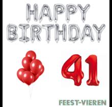 41 jaar Verjaardag Versiering Ballon Pakket rood & zilver