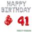 Feest-vieren 41 jaar Verjaardag Versiering Ballon Pakket rood & zilver