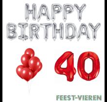 40 jaar Verjaardag Versiering Ballon Pakket rood & zilver