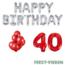Feest-vieren 40 jaar Verjaardag Versiering Ballon Pakket rood & zilver