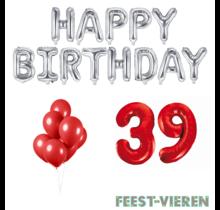 39 jaar Verjaardag Versiering Ballon Pakket rood & zilver