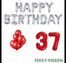 37 jaar Verjaardag Versiering Ballon Pakket rood & zilver