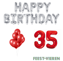 35 jaar Verjaardag Versiering Ballon Pakket rood & zilver