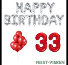 33 jaar Verjaardag Versiering Ballon Pakket rood & zilver