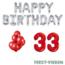 Feest-vieren 33 jaar Verjaardag Versiering Ballon Pakket rood & zilver