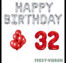 32 jaar Verjaardag Versiering Ballon Pakket rood & zilver